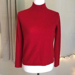 Vintage 100% Cashmere red Mock neck sweater 100%